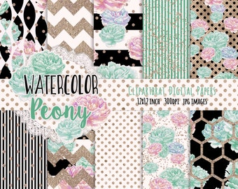 WATERCOLOR FLOWER Digital Paper Pack Black White Mint Blush & Rose Gold Commercial Use Backgrounds Peony Stripes Shabby Chic Scrapbook Paper