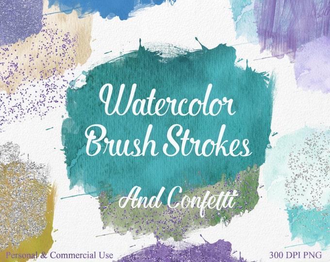 WATERCOLOR BRUSH STROKES Clipart Commercial Use Clipart 28 Watercolor Paint Splotch Silver Purple Confetti Watercolor Textures Logo Clip Art
