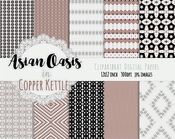 "ASIAN OASIS Digital Paper Pack Commercial Use Background Papers ""Copper Kettle"" Dgital Paper Chevron Argyle Blossoms Geometric Digital Paper"