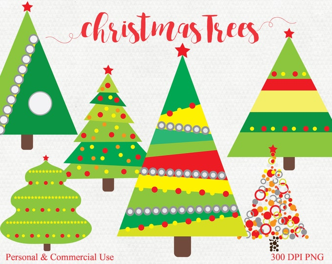 CHRISTMAS TREE CLIPART Commercial Use Clip Art Christmas Tree Graphics Holiday Clip art Red & Green Christmas Images Planner Sticker Clipart