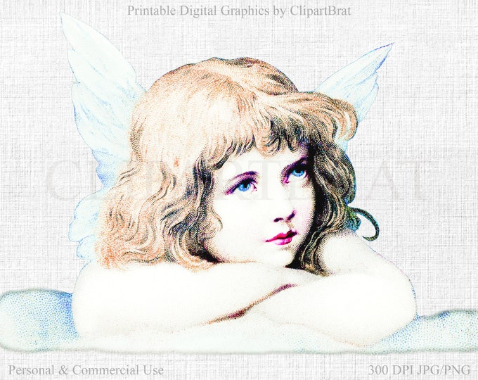 CHRISTMAS ANGEL Clipart Commercial Use Clipart Angel on Cloud VICTORIAN Die cut Christmas Clipart Angel Fabric Transfer Clipart Jpg/Png