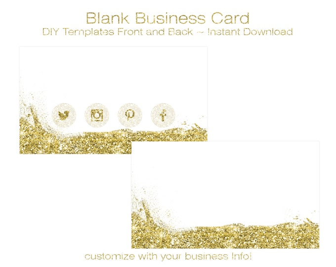 BUSINESS CARD Template - DIY Blank Business Card Standard Size - Premade Business Card Set - Gold Glitter Sparkle With Gold Social Icons