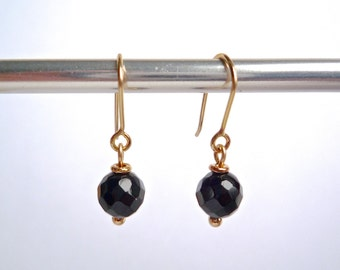 Small black onyx and gold earrings, Solid 14k gold, Round faceted onyx drops, Simple modern black earrings, Genuine black gemstone drops