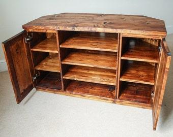 Handmade Corner TV Cabinet - Wooden Corner TV Cabinet - Reclaimed Wood Corner TV Console