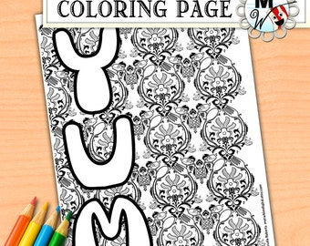 Breakfast Food Coloring Page - YUM Damask Pattern Coloring Page - Instant Digital Download of a Printable Coloring Page for Kids and Adults