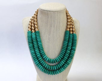 The Carmen Collection Necklace, Green Beaded Necklace, Chunky Green Necklace, Green Statement Necklace, Green Bib Necklace
