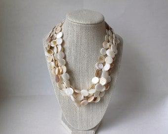 Mother of Pearl Necklace, Beaded Necklace, Statement Necklace, Wedding Necklace, Pearl Necklace, Bridesmaids Necklace, White Necklace