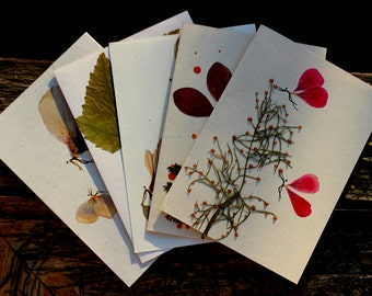 5 Holiday hand- made greeting cards. One of a kind, made from quality recycled paper.