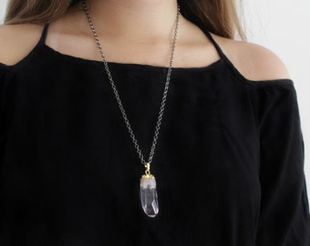 Polished Clear Crystal Necklace on gun metal chain