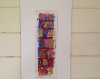 Telaio di finestra - window frame.  Original and unique mixed media art work. Embroidery, acrylic and goache.