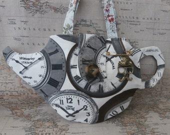 steampunk, vintage, clocks teapot handbag