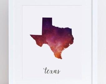 Texas Print Stars / Printable Texas Wall Art / 8x10 Galaxy Constellation Universe Print / Watercolor Wall Art Printable / State Wall Art