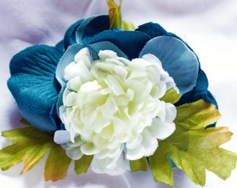Blue and White Hair Flower