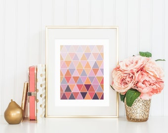 8x10 Colorful Geometric Triangle Instant Download