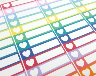 GLOSSY Heart Bars - Planner Stickers (SKU018B-G)
