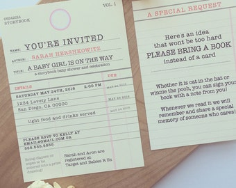 Story Book Baby Shower Invitation • Old Library Card Invitation