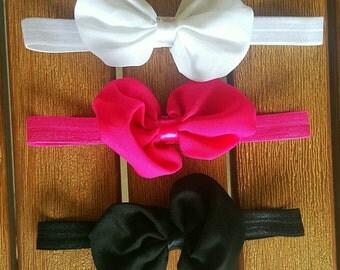 Chiffon Bow Headbands - 3pk