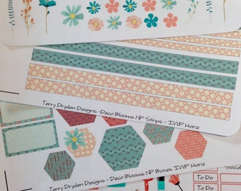 Deco Blooms Weekly Planner Stickers for Inkwell Press and most other horizontal and vertical planners