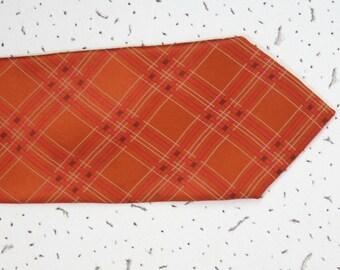 Vintage orange necktie Frangi tie Italian Silk Necktie, Orange plaid tie, wide  tie made in Italy designer necktie
