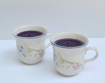Lilac teacup candle set