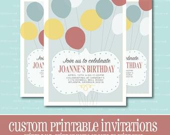 Simple Balloon Birthday Invitation, Printable Invitation, BIRTHDAY PARTY INVITATION, Digital, Customizable, Birthday, Birthday Party,Balloon