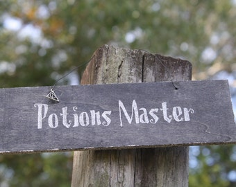 Harry Potter Hogwarts Potions Master Sign School of Witchcraft and Wizardry Professor Snape Deathly Hallows Black Silver Glittered