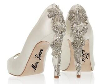 Wedding Bridal Shoe Decal, Wedding Bridal Shoe Sticker,  Wedding Decal Personalized, Wedding Sticker Personalized