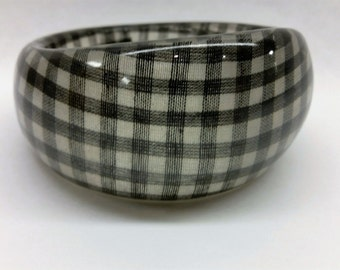 Vintage 1980's LUCITE BLACK GINGHAM Wide Cuff Bangle Bracelet