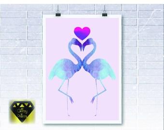 Flamingo Print/ Watercolour Print /Pastel Print / Wall Art A4 or A3 Watercolour Flamingo Print Unframed