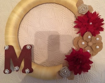 Handmade Wreath with Burlap Flowers and pearl accents