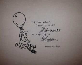 Winnie the Pooh Finished Cross Stitch - Adventure
