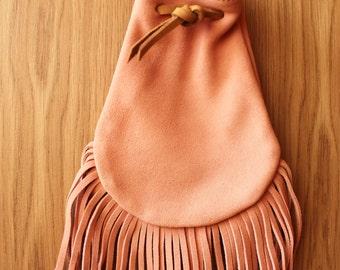Leather Fringe bag, cross body bag, suede fringe bag, festival pouch bag, small crossbody bag, pink crossbody bag, hippie crossbody bag,