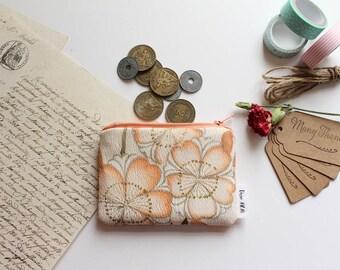 Mini Pouch, Coin Purse, Colourful Pouch, Zipper Pouch, Cotton Pouch - Orange Obi