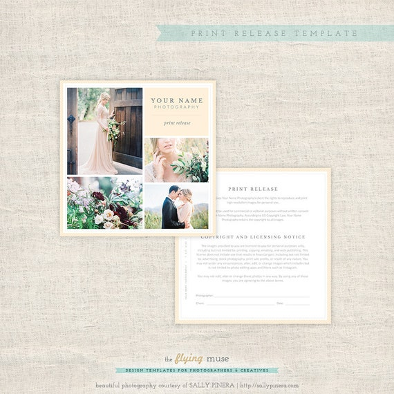 Wedding Photography Print Release Form Photographer Print