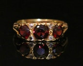 Antique Garnet  Diamond Ring  18ct Gold Lovely Trilogy