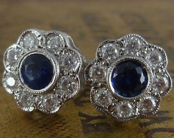 Antique Old Cut Diamond & Sapphire Cluster Earrings – 18ct Gold