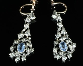 Antique Victorian Blue White Paste Earrings