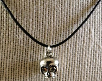 Boho skull necklace choker on leater cord - hand made