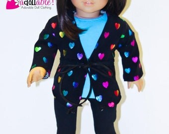 American made Girl Doll Clothes, 18 inch Girl Doll Clothing, Hearts Jacket, Turq Top, Leggings made to fit like American girl doll clothes
