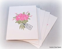 Flower Bouquet Notecard Set, Stationery, Choose Your Sentiment, Note Cards, All Occasion, Blank Cards, Thank You, Miss You, Love You