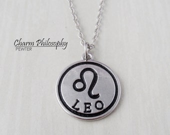 Leo Zodiac Necklace - Antique Silver Horoscope Pendant