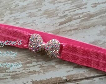 Hot Pink Elastic Headband, Hot Pink Rhinestone Connector Bow