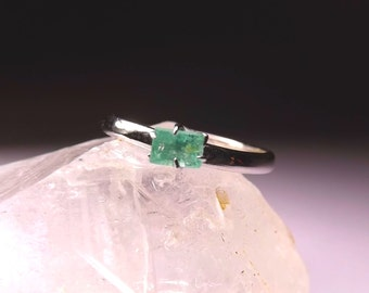 100% Natural Emerald Silver Ring s6