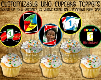 UNO Cupcake Toppers / UNO Birthday / UNO Baby birthday Favor Tags