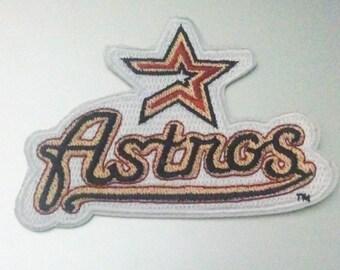 """Houston Astros Iron On Patch 3 1/2"""" x 2 3/8"""" Baseball Logo Free Shipping"""