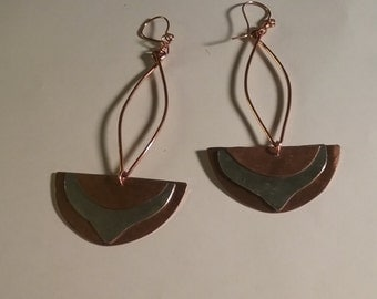 Unique Copper and Aluminum Dangle Earrings