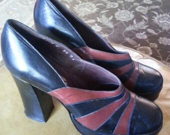 Vintage 1970's Italian shoes, Platform shoes, 1970's platform shoes, Vintage platform shoes, Vintage Italian shoes, Vintage leather.