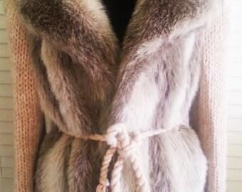 Vintage faux fur woman winter coat, 1970's fur coat, 1970's jacket, Hippie jacket, 1970's hippie winter jacket, 1970's coat, fur coat