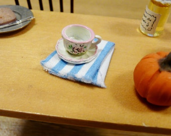 1:12 Miniature Tea Towel Dish Rag Dollhouse Kitchen Accessory Mini Dolls House Pantry Cottage Chic Shabby Country Striped Blue White