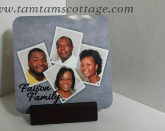 Family Collage Photo Coasters-Drink coasters| Barware|Photo Coasters| Personalized Coasters